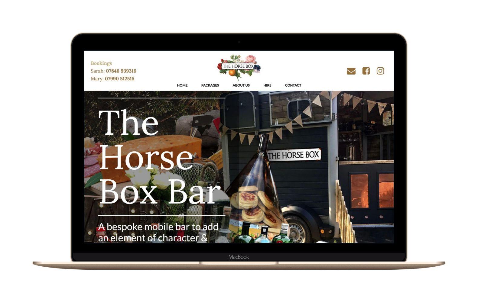 Website Design for The Horse Box Bar