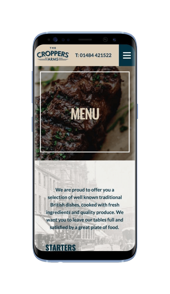 Bespoke WordPress Website for Croppers Arms