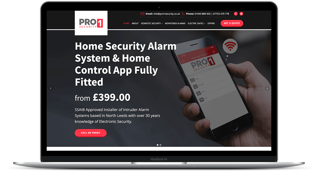 Website Design for Pro 1 Security