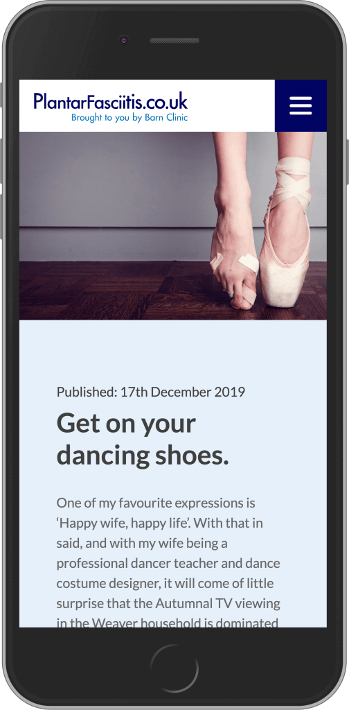 WordPress Developement for Plantar Fasciitis by The Barn Clinic